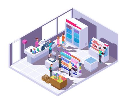 Intérieur d'épicerie isométrique. Intérieur de supermarché avec des gens qui font du shopping et de la nourriture sur des étagères et un réfrigérateur. Illustration vectorielle 3D. Marché couvert d'isométrie avec des gens et de la nourriture