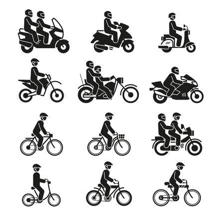 Iconos de motocicletas y bicicletas. Vehículos de moto con pictogramas de vector de ciclista y ciclista de personas aislados sobre fondo blanco. Ilustración de transporte de motocicletas, bicicletas y bicicletas.