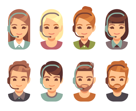 Call center man and woman operator business avatars. Cartoon people agent faces with headset. Support and contact vector flat icons. Call operator with headset, support customer service illustration