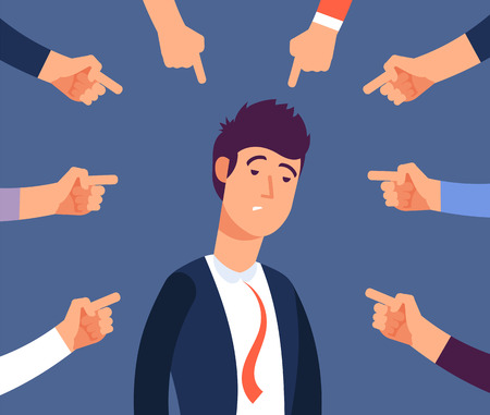 Bullying at work concept. Adult man get harassment by angry coworkers. Accus at office vector illustration. Victim person worker, stress on job, failure and unhappy Vector Illustration
