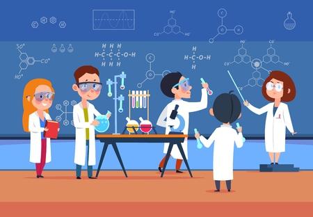 Niños de la escuela en el laboratorio de química. Los niños en el laboratorio de ciencias hacen la prueba. Alumnos de dibujos animados niñas y niños en clase. Ilustración vectorial. Experimento de laboratorio de la escuela de química, laboratorio de ciencias para la educación Foto de archivo