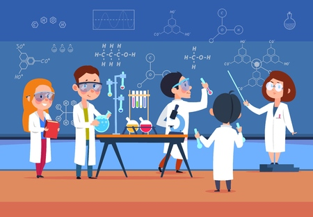 School kids in chemistry lab. Children in science laboratory make test. Cartoon pupils girls and boys in class. Vector illustration. Chemistry school lab experiment, science laboratory for education 版權商用圖片