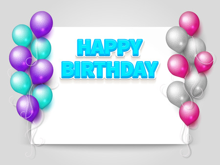 Happy Birthday greeting card vector template with blank paper sheet and flying realistic balloons illustration