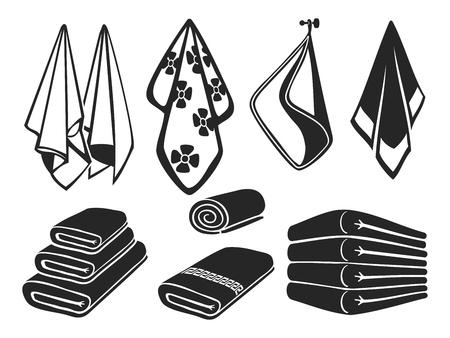 Toallas negras vector set iconos. Toallas de tela suave de baño, playa y cocina aisladas sobre fondo blanco ilustración
