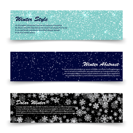 Winter banners template set with snow, shine, snowflakes. Collection of posters illustration vector