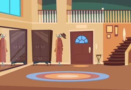 Retro hallway. Cartoon corridor interior with stairs and entrance door, wooden hanger and shoe room. Indoor house vector background. Interior hallway with entrance illustration Illustration