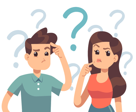 Young troubled couple. Confused woman and man thinking together. People with question marks vector illustration. Man and woman with question, thinking guy Ilustração