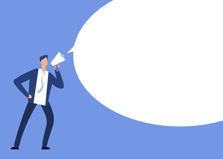 Businessman with megaphone. Man with loudspeaker and blank speech bubble. Announcement vector concept. Illustration of speech bubble, loudspeaker and megaphone