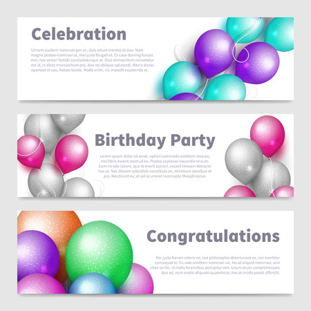 Birthday party banners with celebration realistic balloons vector set isolated on white illustration