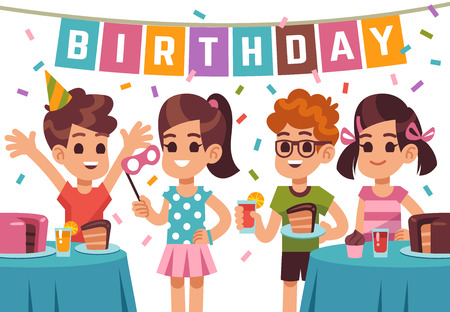 Children birthday party. Kids celebrating anniversary. Vector birthday background with cartoon boys and girls. Illustration of anniversary kids party, girl and boy on birthday holiday