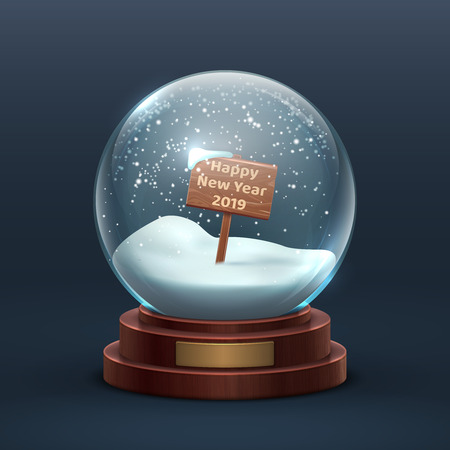 Snow globe. Christmas holiday glass snowglobe with wooden sign and happy new year text. Isolated vector illustration. Snowglobe and sphere ball with snowflake Vetores