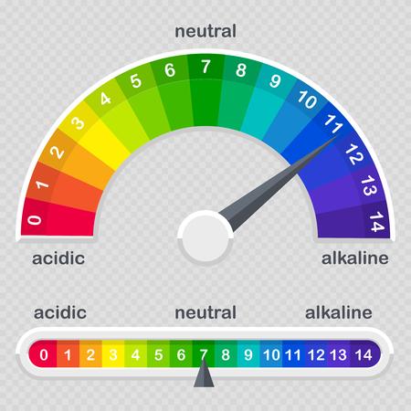 pH-Wert-Skalenmesser für sauren und alkalischen Lösungsvektor, isoliert auf transparenter Hintergrundillustration