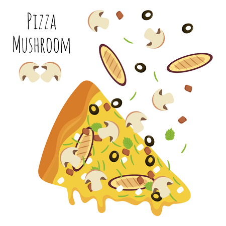 Italian mushroom pizza slice with falling isolated ingredients. Vector illustration