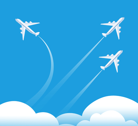 Changing direction concept. Airplane flying in different direction. New trend, unique idea and innovation way business background. Illustration of airplane way direction, creative strategy solution
