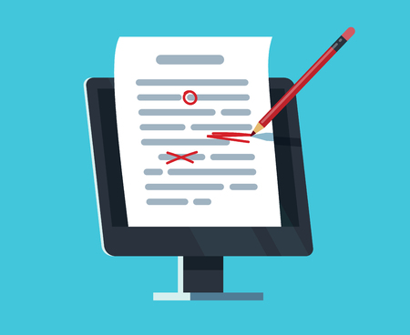 Editable online document. Computer documentation, essay writing and editing. Copywriter and text editor vector concept. Document online editing, storytelling content illustration Illustration