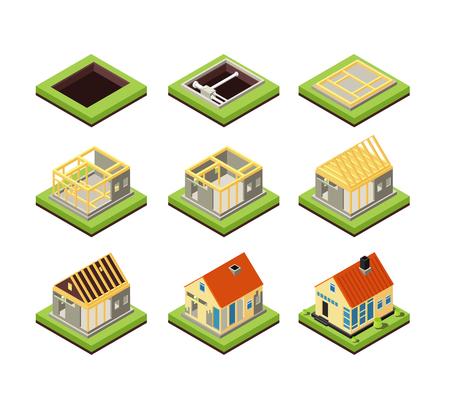 Hausbau. Bauphasen. Phase der Schaffung ländlicher Häuser. Isometrische Vektorikonen projizieren Bauhaus, Wohnkonstrukt 3d Illustration
