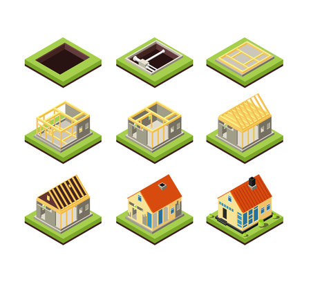 House construction. Building constructing phases. Rural home creation stage. Isometric vector icons project construction home, residential construct 3d illustration Stock Vector - 109359289