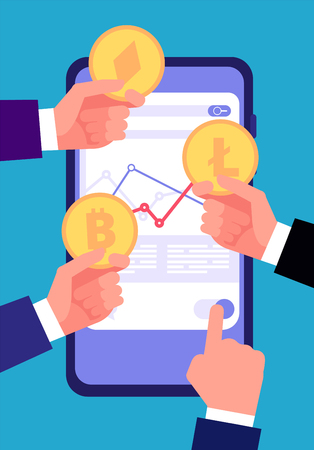 Bitcoin, ico and blockchain concept. Cryptocurrency trading and investing. Valid internet altcoin transaction vector background. Illustration of bitcoin smartphone currency, exchange money blockchain