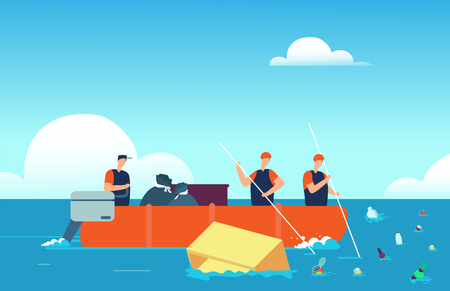 Contaminación mundial de los océanos. Personas en bote recogiendo basura plástica en el mar. Ilustración de vector de dibujos animados de medio ambiente de agua contaminada. Ecología agua del océano, basura plástica en el mar
