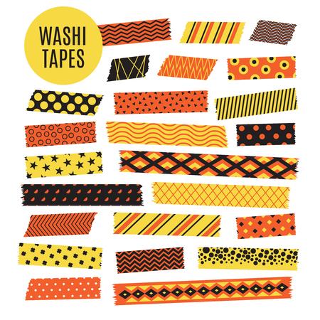 Halloween tape strips. Orange and black halloween patterns. Vector scrapbook elements strip ripped, ribbon sticker paper illustration