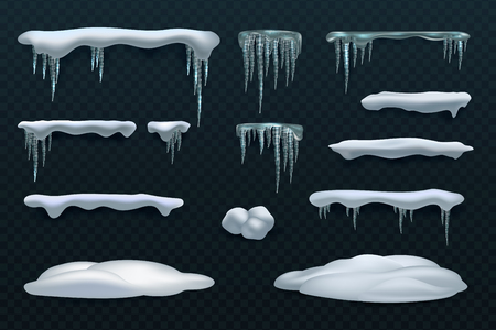 Snow elements. Snowball and snowdrift, icicles and snowcap borders. Isolated winter vector set. Illustration of snowball effect, frost snowcap Çizim