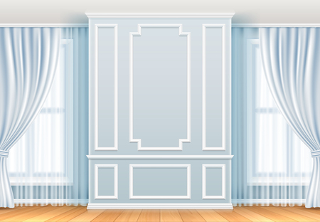 Classic interior. White wall with moulding frames and window. Home room vintage vector decoration. Interior molding wall elegance background illustration Illustration
