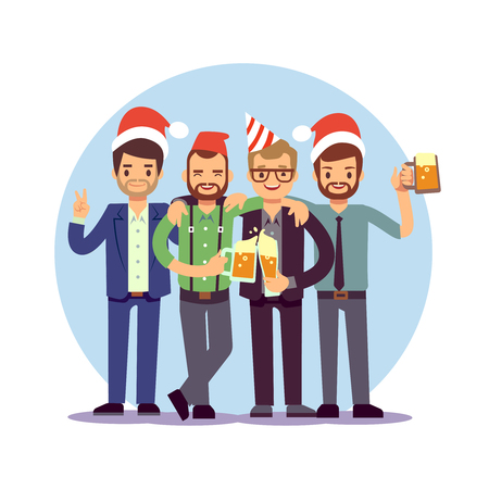 Businessmen celebrate New Year and Christmas. Offica Christmas corporate party. Business team celebration christmas. Vector illustration Illustration