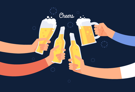 Cheering hands. Cheerful people clinking beer bottle and glasses. Happy drinking holiday vector background. Illustration of alcohol beverage bottle beer, cheers party in pub