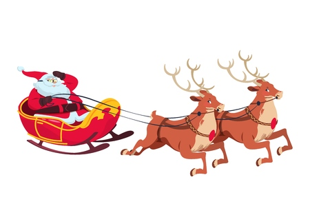 Santa on sleigh with reindeers. Christmas cartoon characters for greeting card. Isolated vector illustration. Santa claus and reindeer flying