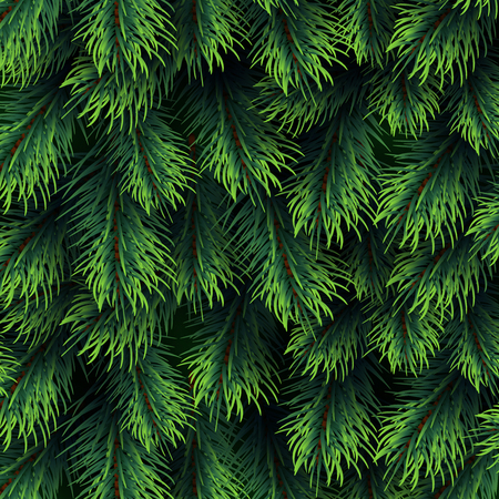 Fir tree branches pattern. Christmas background with green pine branching. Happy new year vector decor. Branch green fir background illustration Vektorové ilustrace