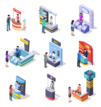 Isometric expo stands. Exhibition demonstration stand and trade stalls with people. 3d vector set of trade stall store, promo stand panel with desk illustration