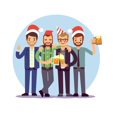 Businessmen celebrate New Year and Christmas. Offica Christmas corporate party. Business team celebration christmas. Vector illustration Stock Vector - 128172764