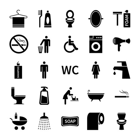 Wc toilet icons. Restroom and bathroom vector silhouette symbols. Set of washroom icon, foam and soap illustration