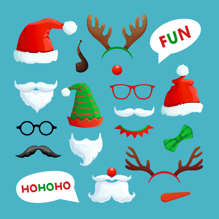 Christmas photo booth. Santa hats, mustache, beard and reindeer antlers xmas props vector collection. Santa hat and xmas booth reindeer antlers and mustache claus illustration