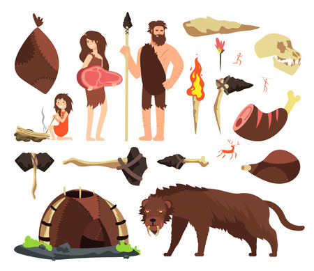 Stone age caveman. Hunting neolithic people, mammoth and prehistoric tools. Vector cartoon ancient human characters. Caveman family and hammer, ax tools illustration 스톡 콘텐츠