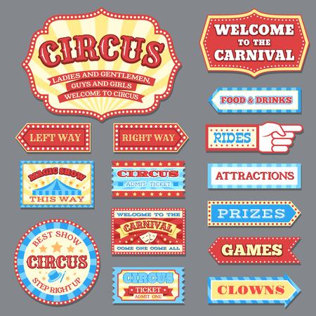 Etiquetas de circo vintage y letreros de carnaval colección de vectores. Ilustración de la etiqueta de circo, espectáculo de entretenimiento de banner.