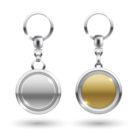 Realistic silver and gold keychains in different round shapes isolated on white background. Vector illustration