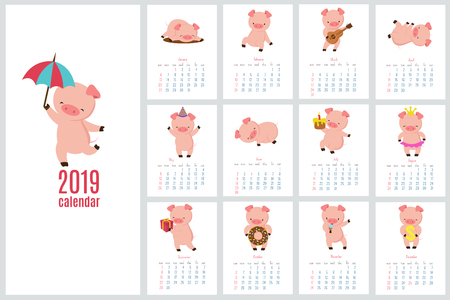Calendar 2019 with cute pig. Funny cartoon pigs diary. Vector calendar template. Pig year calendar, planner template creative illustration