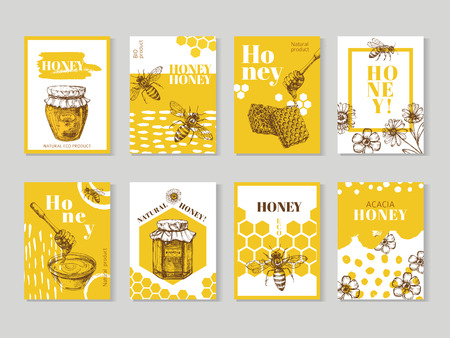 Hand drawn honey posters. Natural honey packaging with bee, honeycomb and hive vector design. Illustration of honey and honeycomb, food sweet posters of set Ilustración de vector