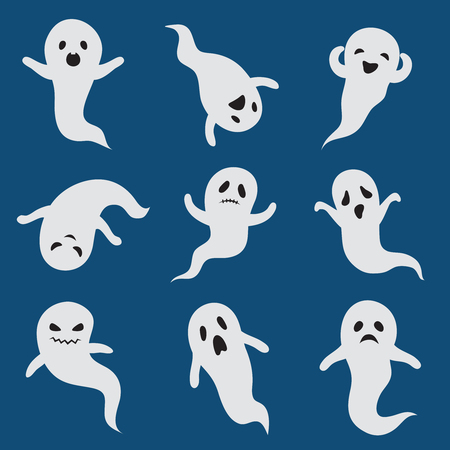 Scary ghosts. Cute halloween ghost. White silhouette vector boohoo ghostly characters isolated. Cartoon ghost halloween, scary silhouette ghostly illustration