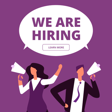 We are hiring concept. Business recruitment vector background. Man and woman with megaphone shouting for interview illustration