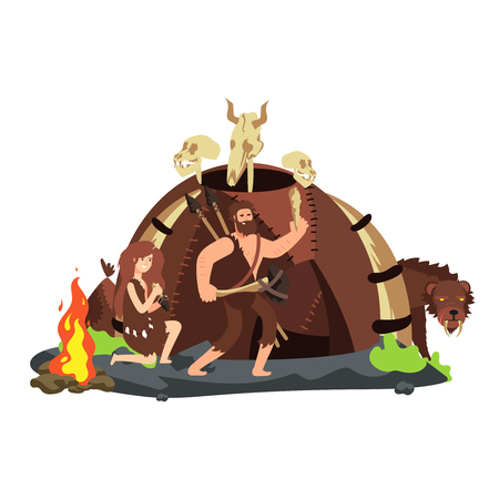 Cartoon style hunting neolithic people and saber-toothed tiger. Vector illustration