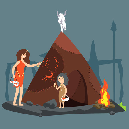 Stone age vector illustration. Cartoon neolithic woman and girl drawing on the wool