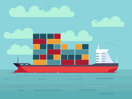 Cargo ship with colored containers in ocean or sea water vector illustration