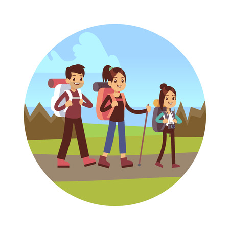 Happy family hiking vector illustration. Mum, dad and daughter go autumn camping Stock Photo