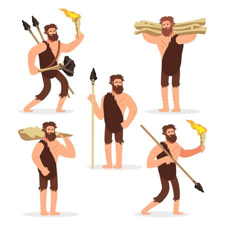 Stone age primitive men cartoon character of set. Vector illustration