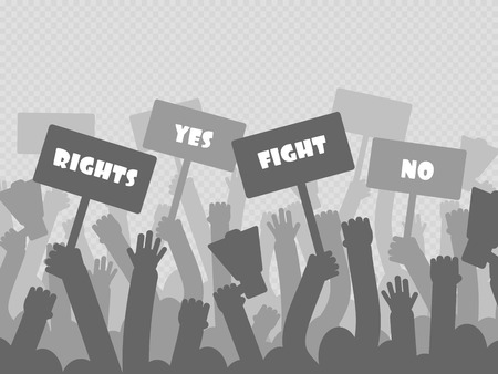 Political protest with silhouette protesters hands holding megaphone, banners and flags isolated on transparent background. Vector illustration