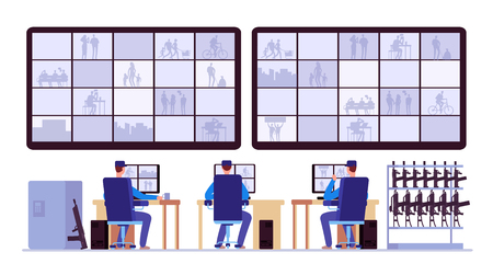 Security room. Professionals monitoring in control center with cctv monitors. Cctv monitor center room, monitoring security illustration