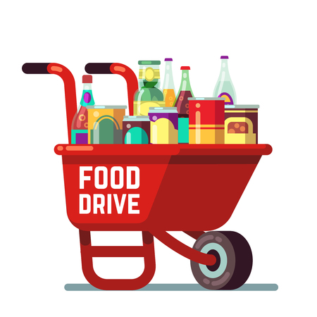 Food drive bank thanksgiving and christmas holiday donation vector concept. Wheelbarrow with canned goods and drinks. Illustration of drink and sauce, concern and canned goods