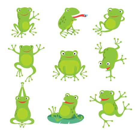 Nette Karikaturfrösche. Grüne krächzende Kröte auf Lotusblättern im Teich. Vektor Tierzeichen Satz Amphibienkröte Zeichnung, grüne Frosch Sammlung Illustration Vektorgrafik